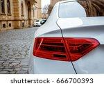 White car and lands-paces.  Icheri She her (Old Town) of Baku, Azerbaijan. Street in old town, fortress, Baku, Azerbaijan.