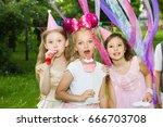 group of kids celebrate... | Shutterstock . vector #666703708