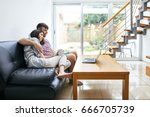 young couple relaxing and... | Shutterstock . vector #666705739