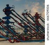 american oil wells | Shutterstock . vector #666709006