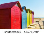 closeup of some colorful beach... | Shutterstock . vector #666712984
