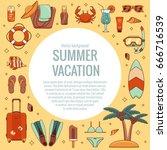 summer vacation beach icon...   Shutterstock .eps vector #666716539