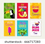 summer template set  summertime ... | Shutterstock .eps vector #666717283