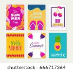 summer template set  summertime ... | Shutterstock .eps vector #666717364