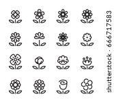 flower line icons set   Shutterstock .eps vector #666717583