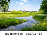 summer landscape with small... | Shutterstock . vector #666719458