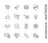digital marketing vector line... | Shutterstock .eps vector #666730228