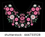satin stitch embroidery design... | Shutterstock .eps vector #666733528