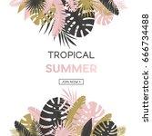 summer banner with paper... | Shutterstock .eps vector #666734488