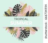 summer banner with paper... | Shutterstock .eps vector #666734554