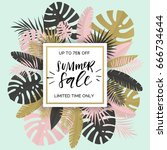 summer banner with paper... | Shutterstock .eps vector #666734644