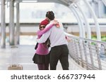 welcoming embrace. young loving ... | Shutterstock . vector #666737944
