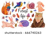 Stock photo watercolor set of forest animals and plants in a cartoon style hand drawn illustration isolated on 666740263