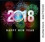 happy new year 2018 | Shutterstock .eps vector #666743260