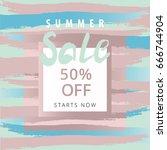 summer sale banner. freehand... | Shutterstock .eps vector #666744904