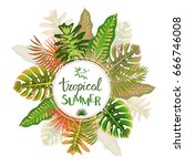 tropical summer pattern with... | Shutterstock .eps vector #666746008