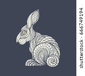 easter bunnies. vector... | Shutterstock .eps vector #666749194