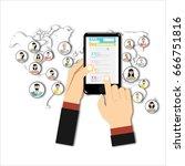 social network concept. flat... | Shutterstock . vector #666751816