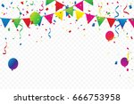 colorful party flags with... | Shutterstock .eps vector #666753958