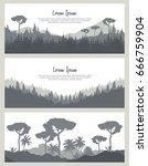 seamless nature backgrounds set.... | Shutterstock .eps vector #666759904
