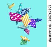 multicolored decorative 3d... | Shutterstock .eps vector #666761806