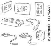 vector set of plugs | Shutterstock .eps vector #666762214