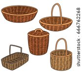 vector set of wicker basket | Shutterstock .eps vector #666762268
