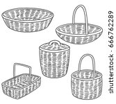 vector set of wicker basket | Shutterstock .eps vector #666762289