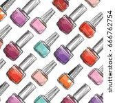 nail polish bottle pattern.... | Shutterstock .eps vector #666762754