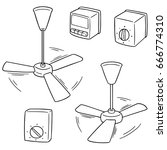vector set of ceiling fan and... | Shutterstock .eps vector #666774310
