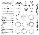 arrows  hearts  ornament  ... | Shutterstock .eps vector #666774436