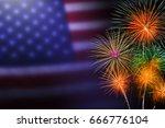 celebration fireworks . 4th of...   Shutterstock . vector #666776104