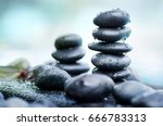 close up heap of spa stones... | Shutterstock . vector #666783313