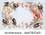 Sea Food Composition  Flat Lay...