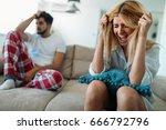 unhappy couple having crisis... | Shutterstock . vector #666792796
