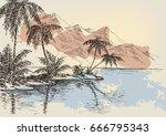 Summer Beach Background Hand...