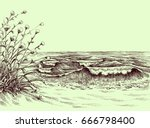 beach and sea carbon drawing | Shutterstock .eps vector #666798400