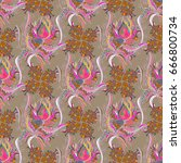 abstract ethnic seamless... | Shutterstock . vector #666800734