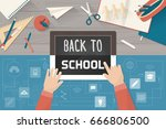 back to school evolution ... | Shutterstock .eps vector #666806500