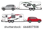 camp trailer and suv in two... | Shutterstock .eps vector #666807508