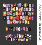colorful newspaper alphabet.... | Shutterstock .eps vector #666807790