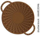 birchbark basket. realistic... | Shutterstock .eps vector #666813346