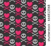 skull  heart and crossbones... | Shutterstock .eps vector #666813568