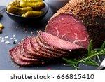 roasted beef  pastrami on slate ... | Shutterstock . vector #666815410