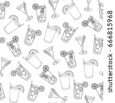 seamless pattern glass of... | Shutterstock .eps vector #666815968