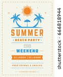 summer holidays beach party... | Shutterstock .eps vector #666818944