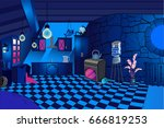 blue kitchen interior night ... | Shutterstock .eps vector #666819253