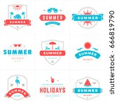 summer holidays labels and... | Shutterstock .eps vector #666819790