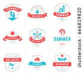 summer holidays labels and... | Shutterstock .eps vector #666819820