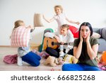 stressed mother sees mess   Shutterstock . vector #666825268